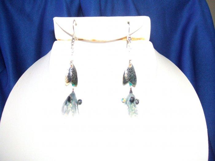 Green Thunder Bug Chandelier Earrings