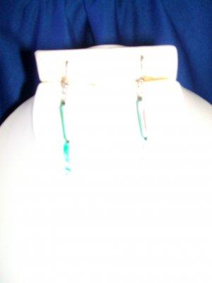 Green Iridescent Minnow Earrings