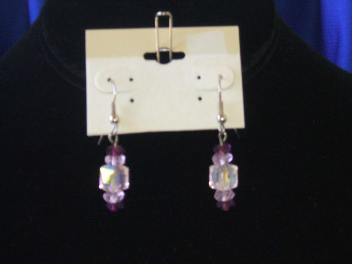 Pink Swarovski Cube Earrings