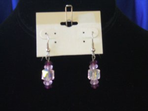 Pink Swarovski Cube Earrings