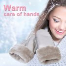 New Fashion Women's Real Sheepskin Mittens Gloves Fur Trim Leather Winter Warm