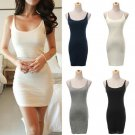 Hot Sale snug Long Vest Sleeveless Top Women's Cami Strap Bodycon Mini Dress