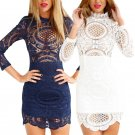 Women Summer Long Sleeve BodyCon Lace Mini Dress Evening Party Cocktail Fashion