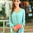New Fashion Women's Loose Chiffon Tops Long Sleeve Shirt Casual Blouse Big Size