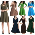 Women's Elegant Office Work V Neck Stretchy Dress 3/4 Sleeves Maternity US Size