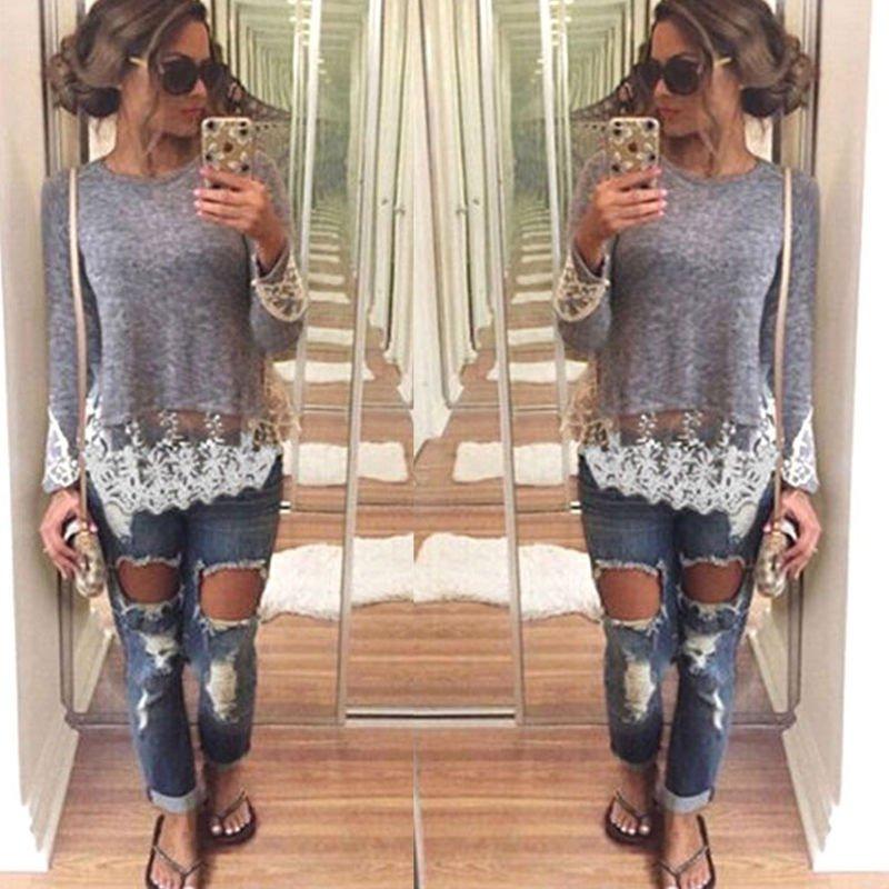 Women Casual Pullover Blouse Lace Shirt Lace Mini Dress Loose Long Shirt Fancy
