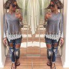 Women Casual Pullover Blouse Lace Shirt Lace Mini Dress Loose Long Shirt Fancy