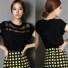 Women's Chiffon Short Sleeve Shirt V Neck Loose Tops Blouse T-Shirt Sz S- XL