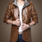 Fashion Men's Warm Winter Jacket Leather Coat Fur Parka Fleece Jacket Slim New