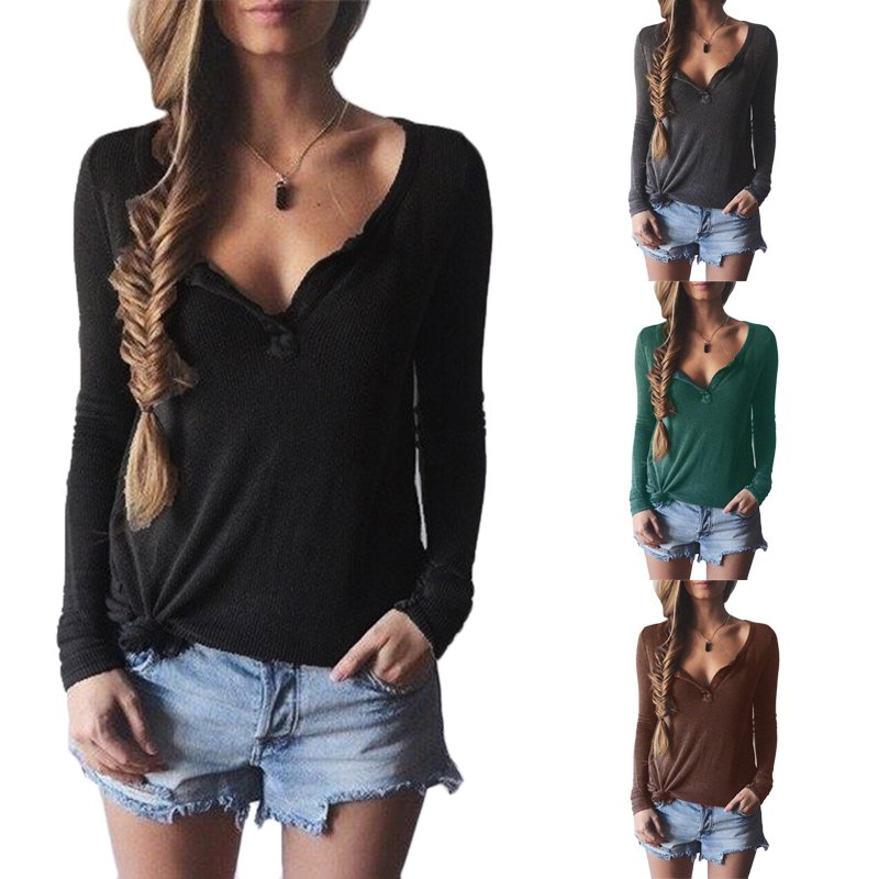 New Ladies V-Neck Long Sleeve Womens Winter Jumper Pullover Top Sweater Blouse