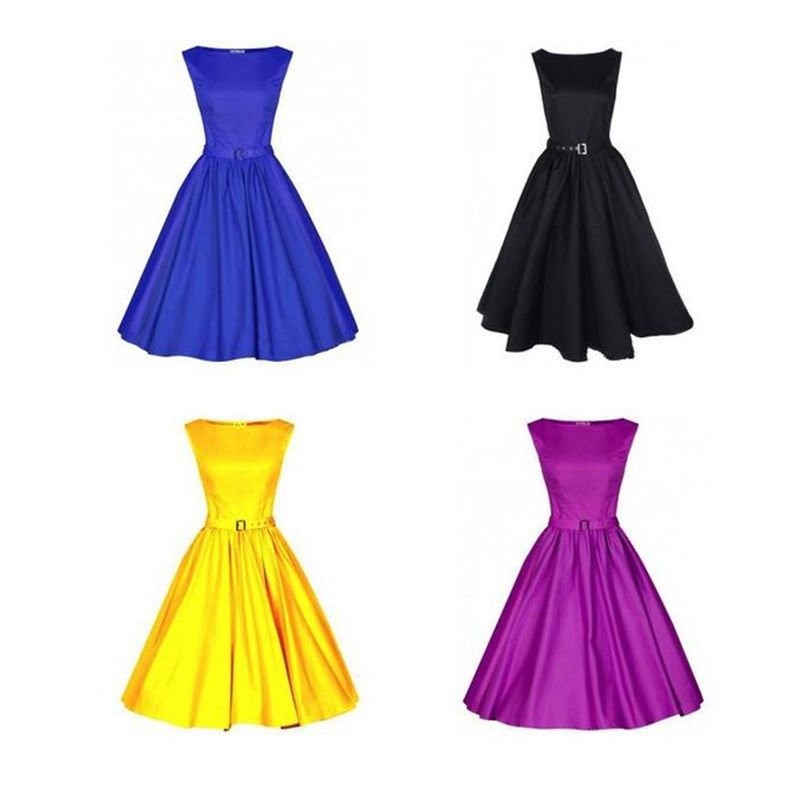 Lady 50s 60s Vintage Rockabilly Swing Audrey Retro Sleeveless Dress US Size 6-14