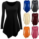 Women Loose Tops Long Sleeve Shirt Casual Blouse Round Neck Irregular Bottom hot