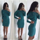 Womens Off Shoulder Long Sleeve Jumper Top Bodycon Sweater Mini Dress US 2-12
