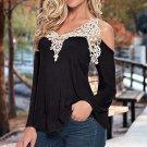 Ladies Off Shoulder Lace Crochet Hollow Long Sleeve Cotton Loose Blouse Popular