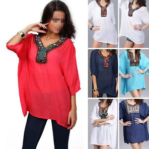 Womens Long Sleeve Cotton Linen Embroidery Beaded T-Shirt Plus Size Blouse Best