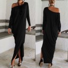 Women Long Sleeve Off Shoulder Jersey Long Batwing Tunic Plain Dressing Fashion