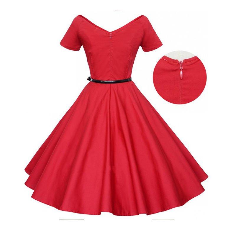 Women Vintage Rockabilly  V Neck Swing Audrey Retro Dress Beautiful Design