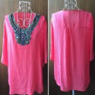 Womens Long Sleeve Cotton Linen Embroidery Beaded T-Shirt Plus Size Blouse Nice