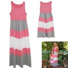 Summer Family Clothes Mother Daughter Dresses Womens Kids Girls stripe Dress