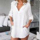 Women Crew Neck Chiffon Loose Casual Long Sleeve Top Shirt Blouse Attractive