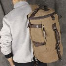 Men's Vintage Canvas Leather Hiking Travel Cylinder Messenger Tote Bag Backpack