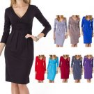 Women Ladies Wrap V-Neck Jersey,Cocktail,Office,formal Party Dress New Style US