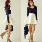 Fashion Women's Stretch Waist Plain Skater Flared Pleated Mini Skirt Candy Cute