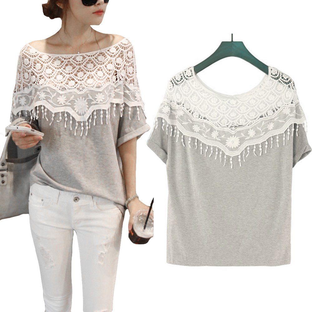 New Cheap Hollow Lace Crochet Neck Loose Batwing Short Sleeve T Shirt Quality