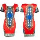 Women's Traditional African Print Dashiki Bodycon Short Sleeve Slim Dress 2016