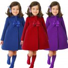 Kids Girls Winter Clothes Fleece Outerwear Long Trench Wind Coat Jacket Size2-7Y