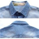 2016 Men's Denim Casual Shirts Long Sleeve Slim Fit Mens Jeans Shirt Top Clothes