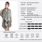 Women 100% Real Knitted Silver Rabbit Fur Jacket Coat Cape Outwear Parkas Poncho