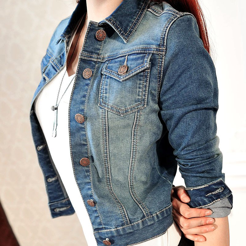 Fashion Women Long Sleeve Coat Slim Denim Short Casual Jean Jacket Hot Popular