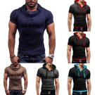 Men's Slim Fit Short Sleeve Shirt Hooded Tee Muscle Tops Hoodies Casual T-shirt