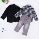 3PCS TOP Boys Dress Suit Coat/Plaids Shirt/Denim Pants Set Kids Clothes Outfits