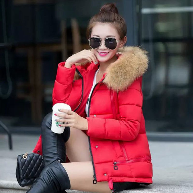 Women'S Winter Fur Collar Coat Down Cotton Short Slim Hooded Jacket New Cheap