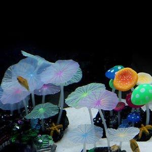Aquarium fish tank decoration ornament soft fluorescence color mushroom Cuddly