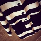 Ladies Women Clothing White&Black Striped Coat Jacket Outerwear Popular Pretty