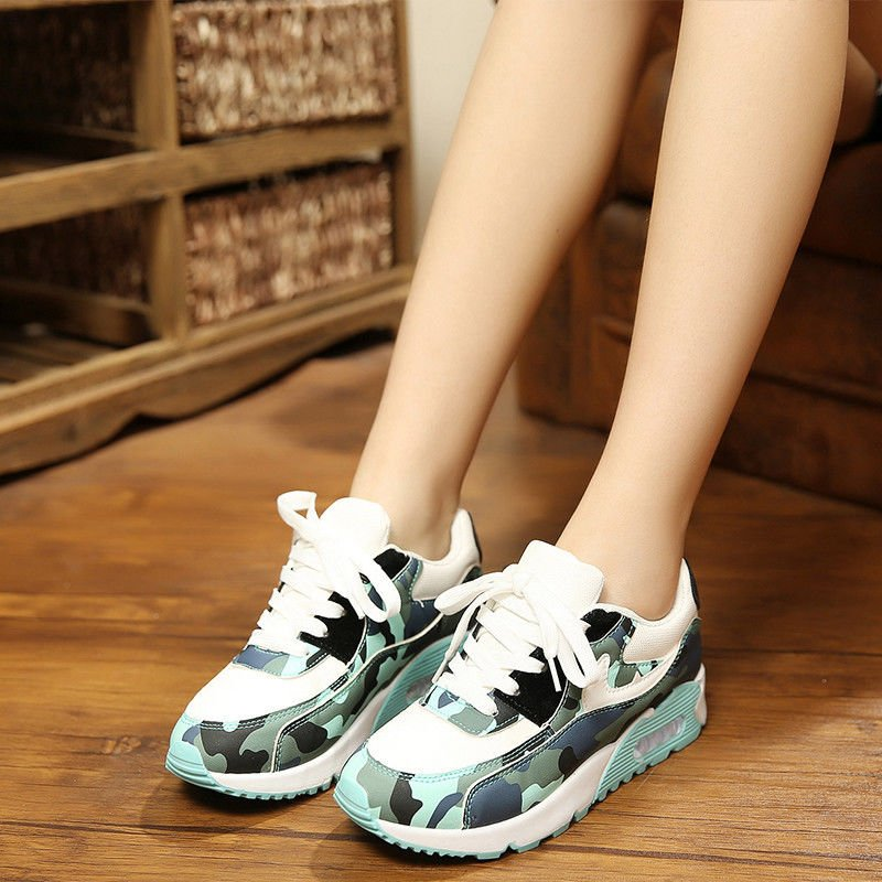 Womens Mesh Camouflage Sports Shoes Lace Up Breathable Running Sneakers Hot Cool