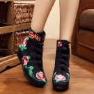 Chinese Embroidered Floral Shoes Women Flat Cotton Loafer snug Short Boots Shoes