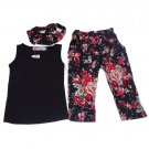 3PCS Baby Girls Floral 2-8Y Kids Outfits T-shirt + Pants + Hair Band Set Beauty