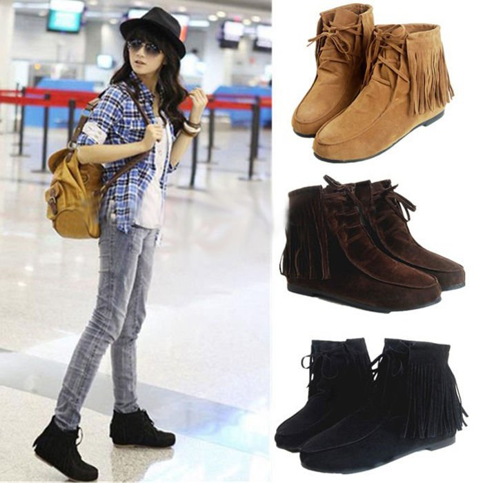 Comfortable Womens Tassel Ankle Boot Flat Matte Lace Up Shoes Boot 3 Colors N