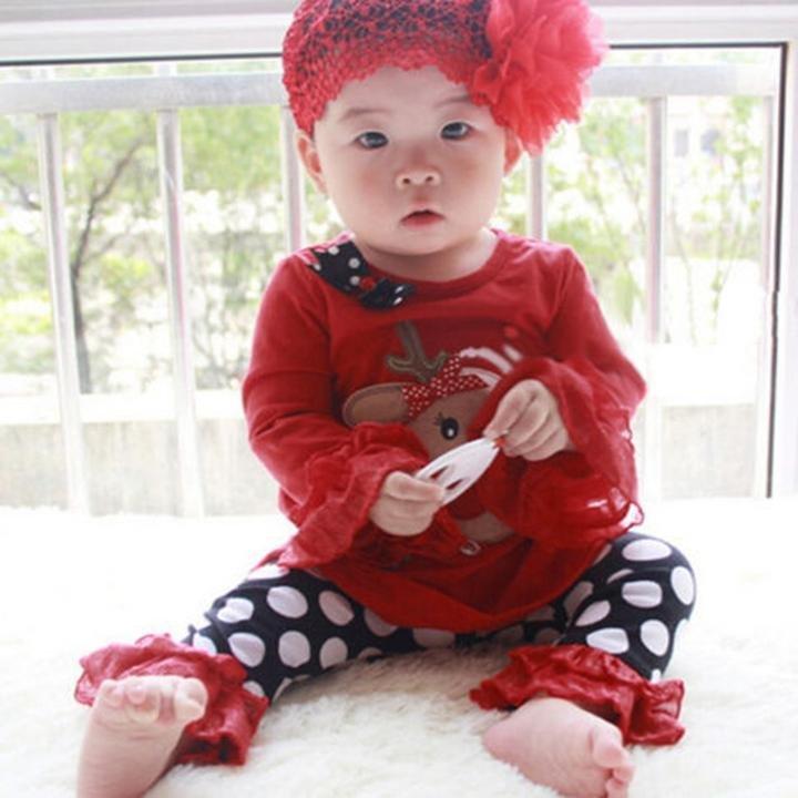 2 pcs Baby Kids Clothe Set Christmas Gift Soft Set T-Shirt+Striped Pants Outfits