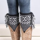 Woman's Crochet Knitted Tassel Trim Boot Cuffs Toppers Leg Warmers Socks Elegant