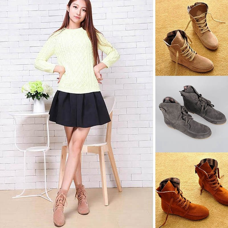 New Fashion Women Girls Lace Up Winter Boots Flat Ankle shoes Casual Shoes 2017