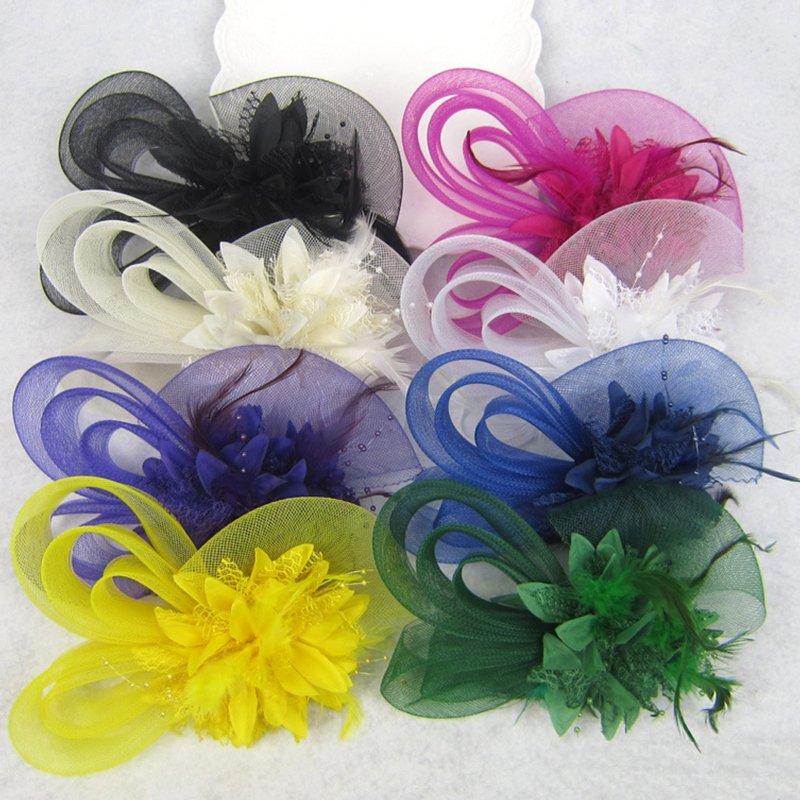 Women Flower Feather Headpiece Fascinator Bridal Wedding Hairpin Clip Party Acc