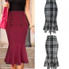 Womens Vintage Polka Dot High Waist Party Cocktail Mermaid Pencil Midi Skirt