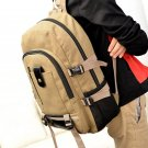 Unisex Canvas Leather Backpack Rucksack Shoulder Travel Hiking Camping Bag
