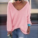 Women Casual Long Sleeve V-neck Knitted Pullover Loose Sweater Tops Knitwear A