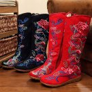 Chinese Embroidered Floral Shoes Women Flat Cotton Loafer snug Ladies high Boots